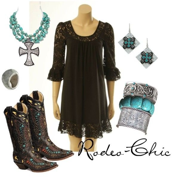 Mi Vida Loca by rodeo-chic on Polyvore, Dress with cowboy boots by @corralboots; earrings, bracelets, pendant by Montana Silversmith's @mtsilversmiths; western bohemian, country