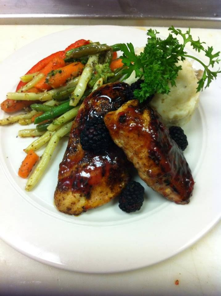 Blackened Chicken with a blackberry glaze