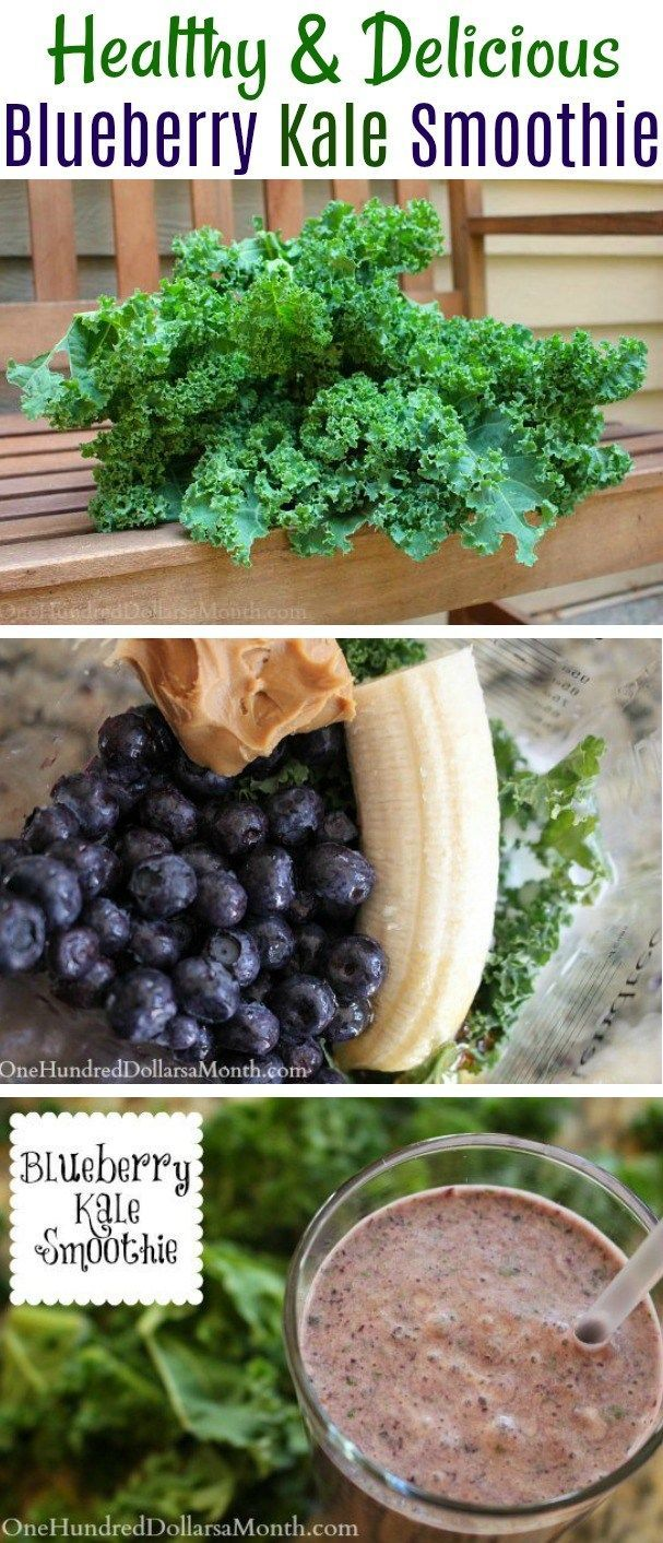 Blueberry Kale Smoothie, Kale Smoothies, Blueberry Smoothies, Smoothies with Peanut Butter