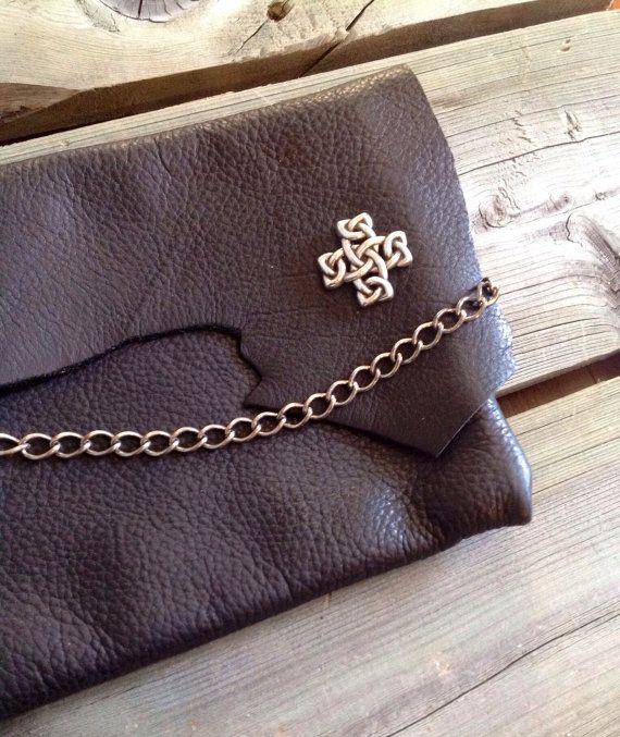 Black Leather Raw Edge Dinner Clutch with a by HeartnSoulHandbags, $120.00