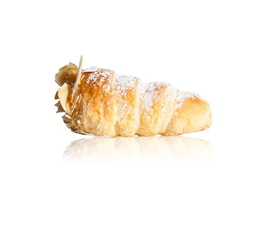 Cannoncini Vaniglia - A baked puff pastry, filled with vanilla custard, dipped in almond flakes & dusted with icing sugar