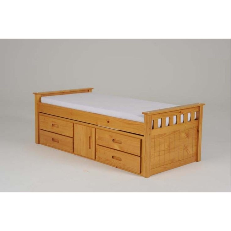 Single Bed With Storage Part - 46: Heartlands Captains Wooden Single Bed With Storage