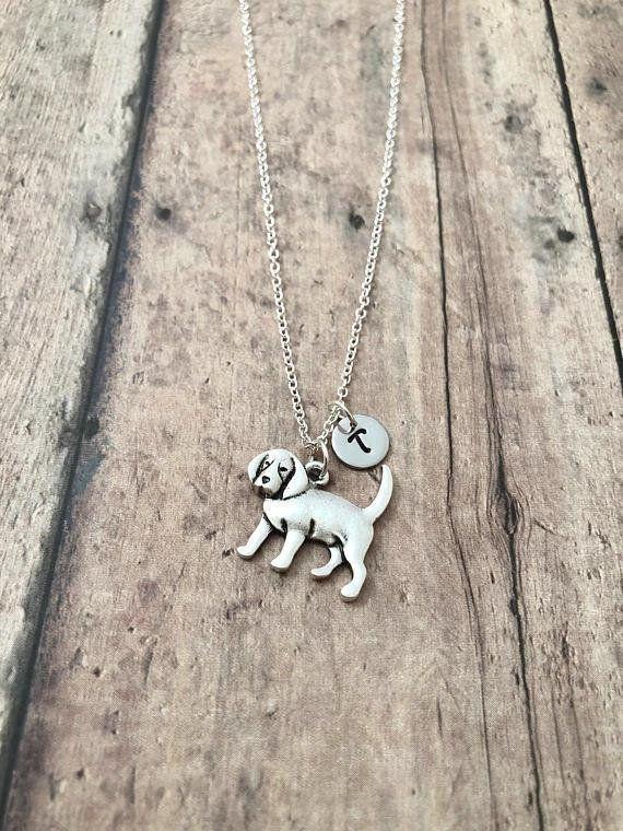 Beagle Initial Necklace Beagle Jewelry Dog Breed Jewelry Initial