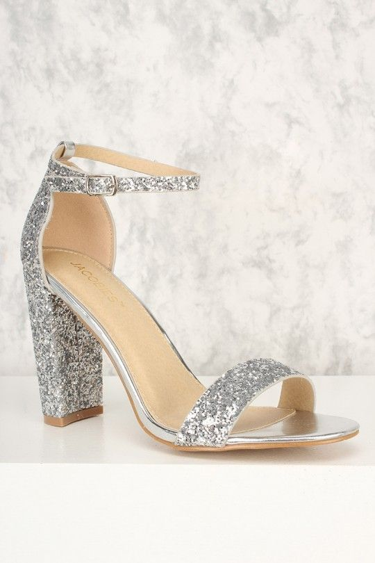 4aa57a67b853a1 Silver Glittery Accent Open Toe Chunky High Heels Faux Leather in ...