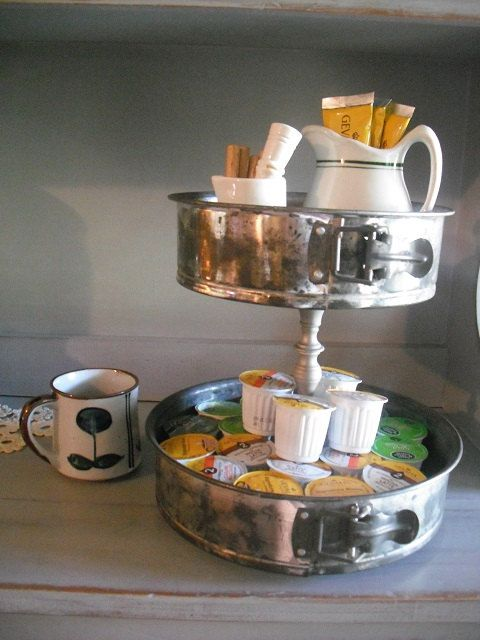 Upcycled 2 Tiered Metal Organizer Stand Coffee Center