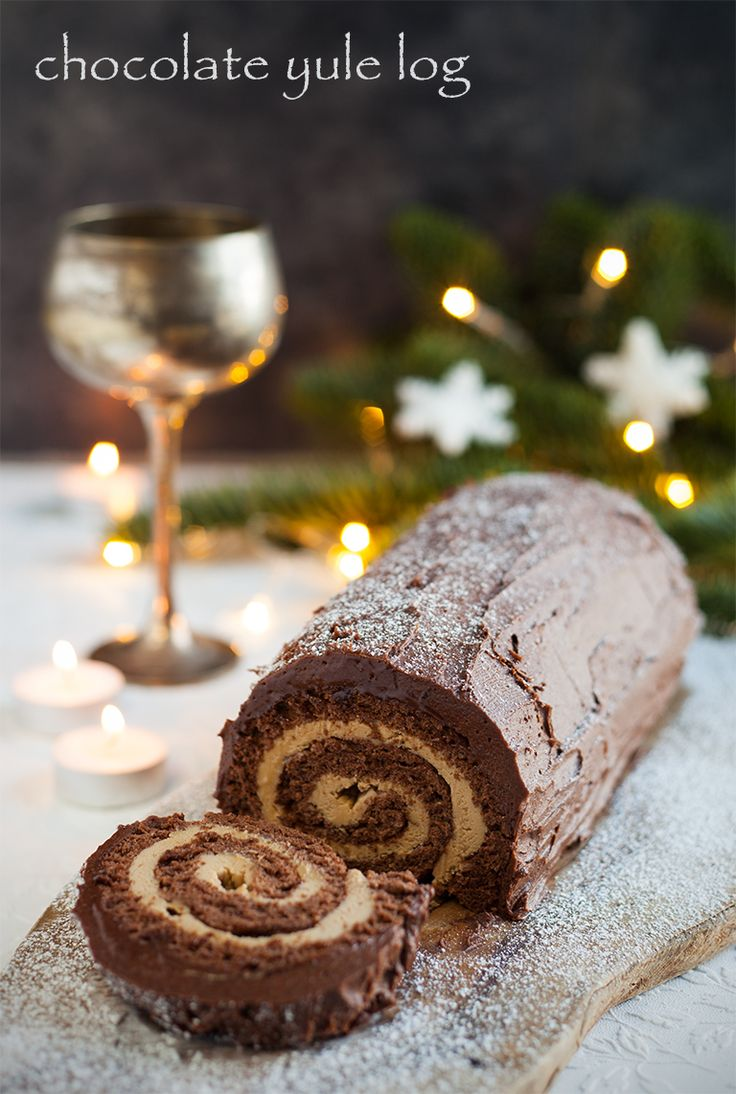 In preparation for the festive season I took a stab at making a chocolate yule log. This one is filled with a deliciously light coffee and mascarpone filling and smothered in a yummy rich chocolate...