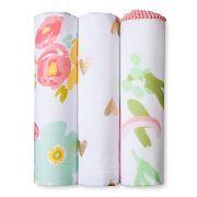Muslin Swaddle Blankets Floral 3pk - Cloud Island™ - Pink