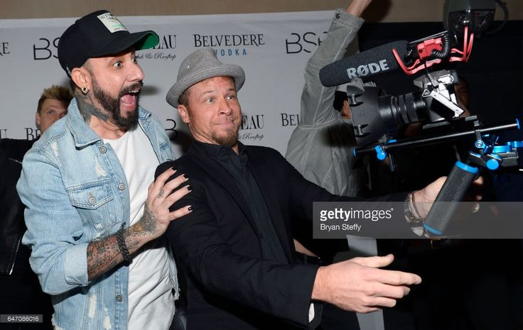 Singers A.J. McLean (L) and Brian Littrell of the Backstreet Boys attend the after party of the debut of the group's residency 'Larger Than Life' at the Chateau Nightclub & Rooftop at the Paris Las Vegas on March 2, 2017 in Las Vegas, Nevada.