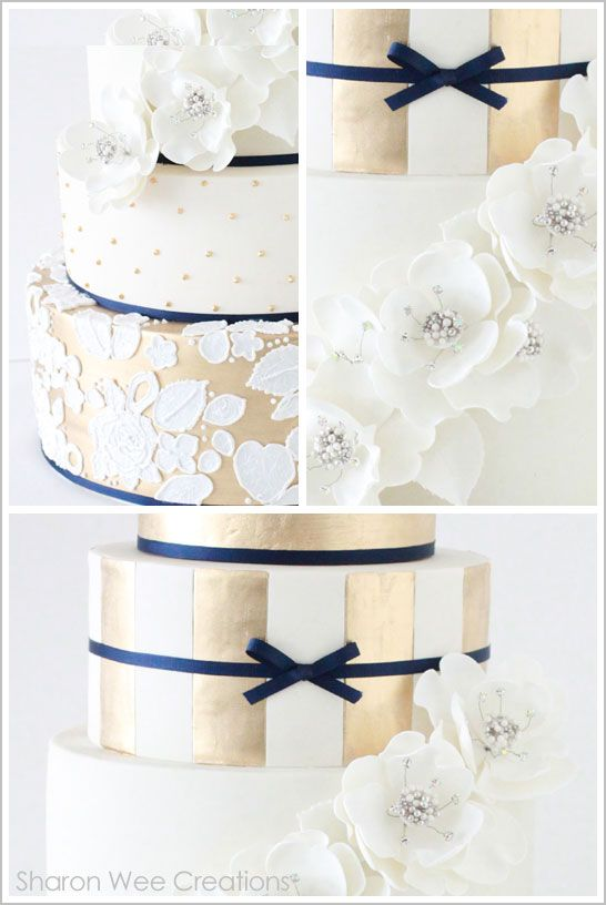 Gold & Navy Winter Wedding Cake #navy & white retro wedding board... Wedding ideas for brides, grooms, parents & planners ... https://itunes.apple.com/us/app/the-gold-wedding-planner/id498112599?ls=1=8 … plus how to organise an entire wedding, without overspending ♥ The Gold Wedding Planner iPhone App ♥