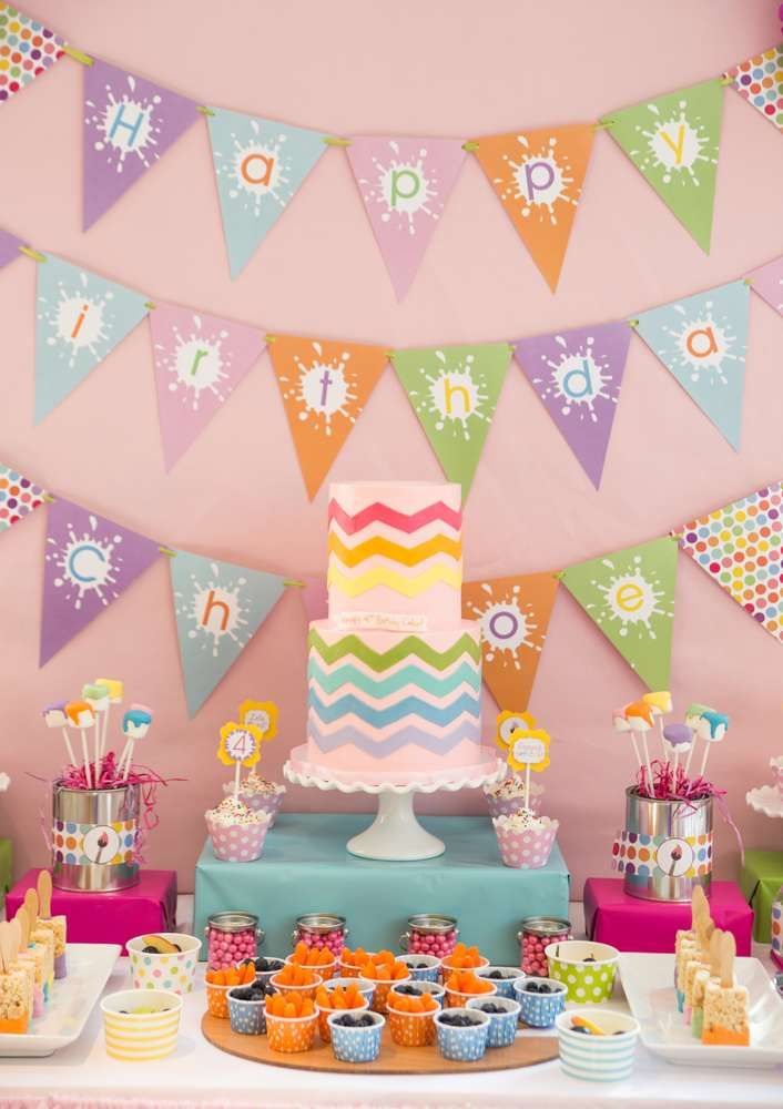 Amazing art birthday party dessert table and banner!  See more party planning ideas at CatchMyParty.com!