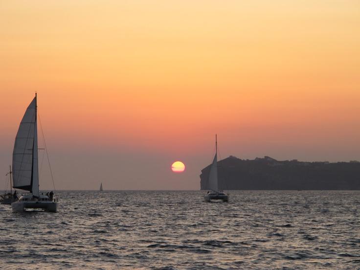 private or semi-private sunset cruise in santorini http://www.santorini.com/sailing/santorini_catamaran/