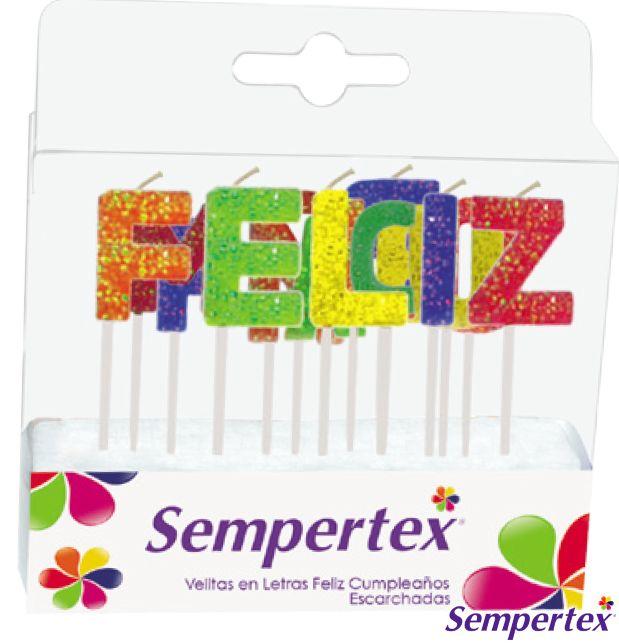 Velas Letras Escarchadas Feliz Cumpleaños x 1