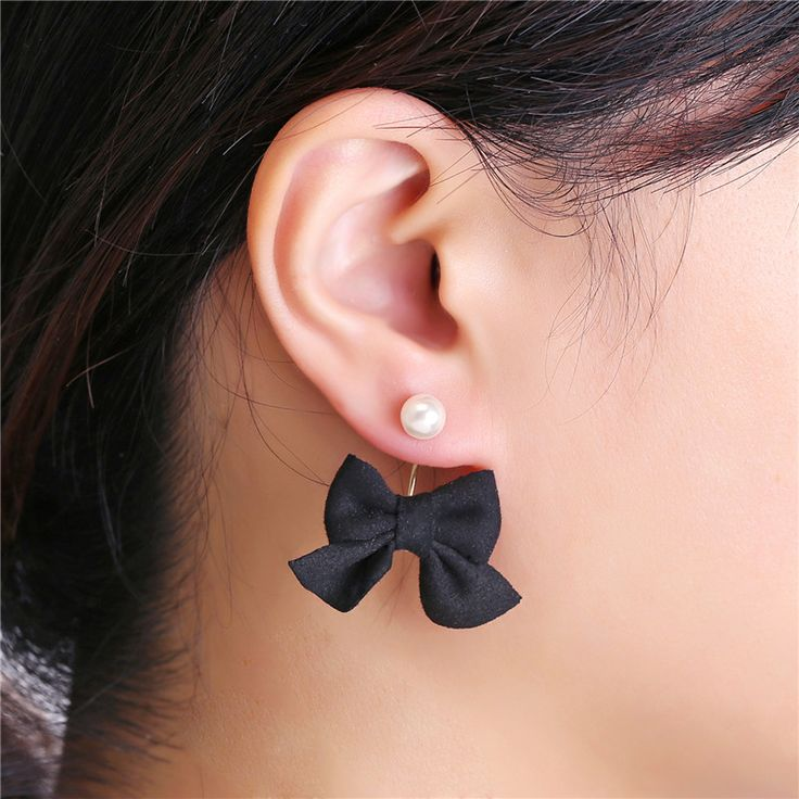 New concise cloth bow stud earrings pearl earrings for Women Girls brand bow earrings jewelry charm gift 2017