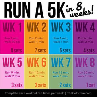 Run a 5K in 8 weeks! Perfect for beginners. #TheColorRun