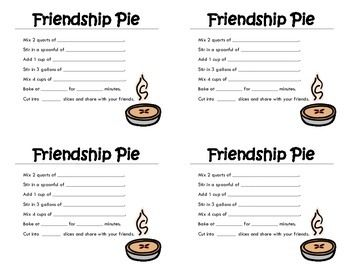 """This is a nice little activity to go with the story """"Enemy Pie"""" by Derek Munson.  This printable is set up so that four """"recipe"""" cards print out per page.  Simply print, cut, and pass out for students to fill in about what it takes to make a good friendship.Enjoy!"""
