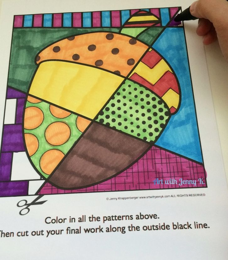 Fall pattern filled coloring sheets for preK, kindergarten, first grade and second grade holiday art projects for the entire year.