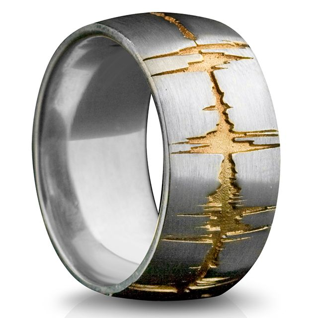 Soundwave Ring     Sterling Silver 'Custom Recording' Soundwave Band Ring Accented In Gold      $590      Stainless Steel: $385     Gold: starting at $1385