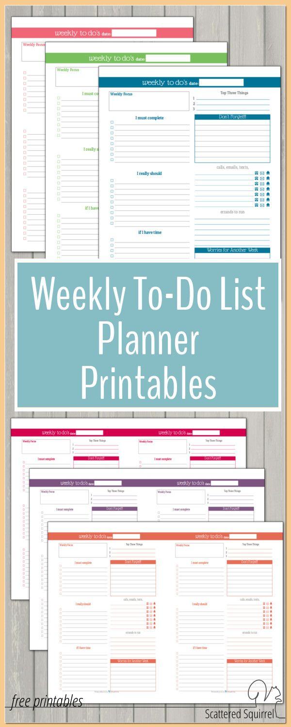 These Weekly To-Do List planner printables are a great addition to any planner. They help make planning those busier weekss a little easier. Best of all they match the colours used in the dated 2016 Calendar so you can create a planner that matches. To-Do List planner printables are a great addition to any planner.