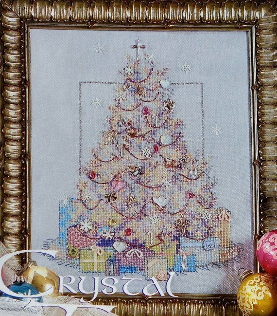 Sandra Paradise CRYSTAL CHRISTMAS TREE Picture Uses Mill Hill Beads - Counted Cross Stitch Pattern Chart - fam via Etsy
