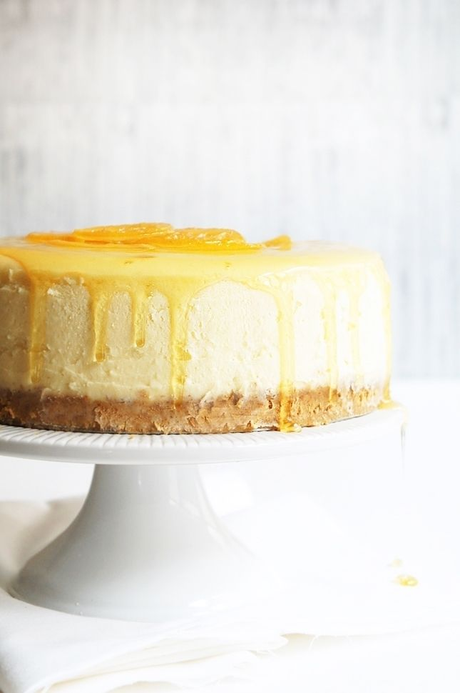 new york style coconut cheesecake with candied lemons