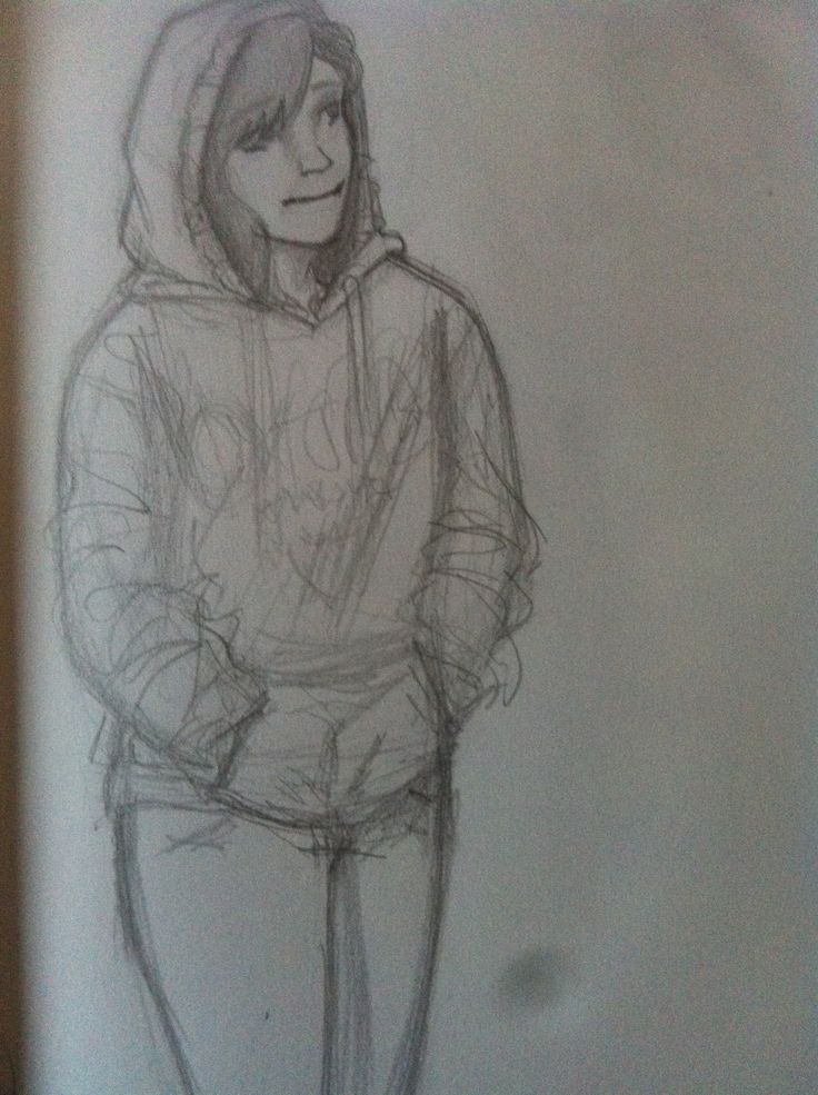 I tried to draw myself, wearing my favorite hoodie.
