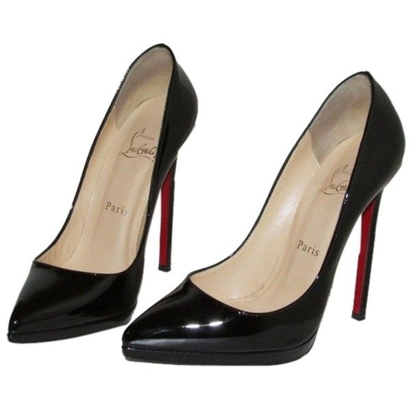 Pre-owned Christian Louboutin Pigalle Plato 140 Black Patent Pumps (364.455 CRC) ❤ liked on Polyvore featuring shoes, pumps, black patent, black court shoes, fleece-lined shoes, christian louboutin pumps, patent shoes and black shoes