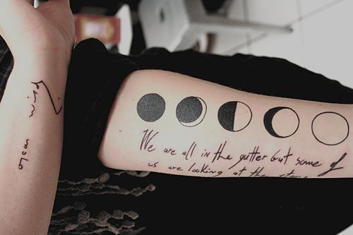 My moon phases and oscar wilde s tribute tattoos i think for Moon phase tattoo