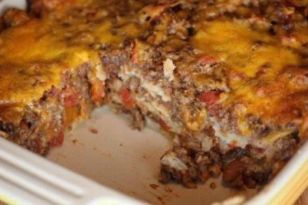 Mexican tortilla casserole.  Would also be good with shredded chicken substituted for the beef