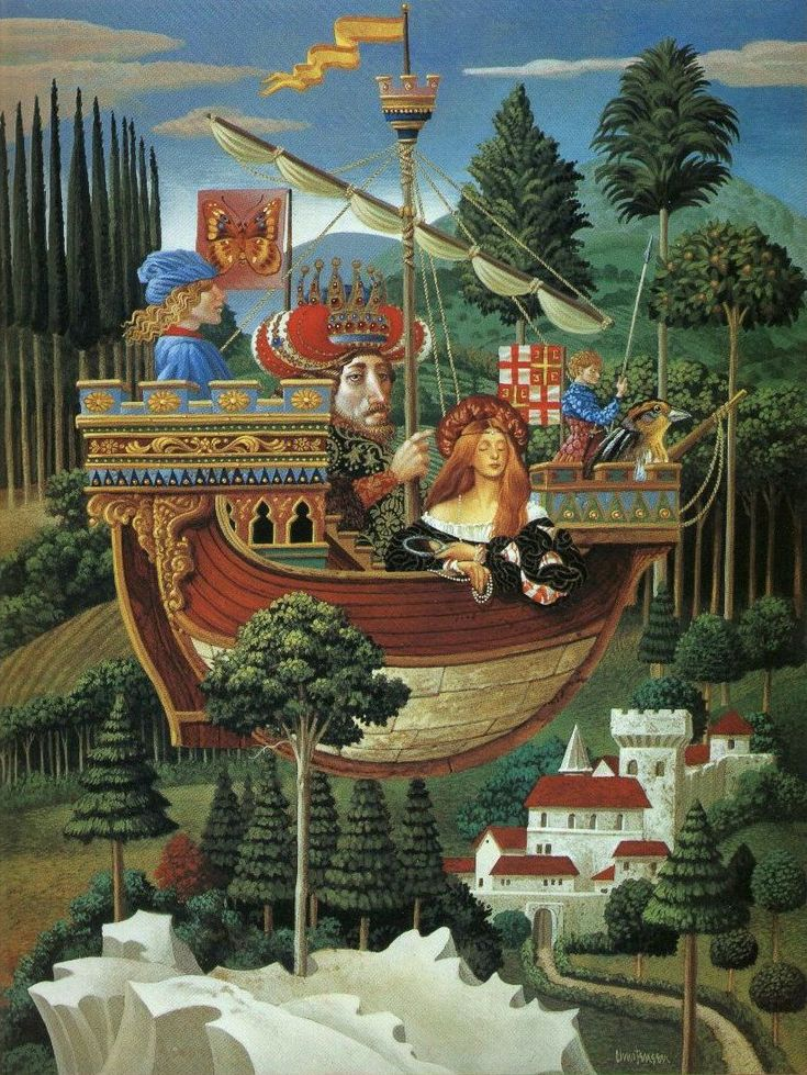 """THE EMPEROR OF CONSTANTINOPLE AND VANITY ON A PLEASURE CRUISE ACROSS A QUATTROCENTO LANDSCAPE"" - James Christensen"