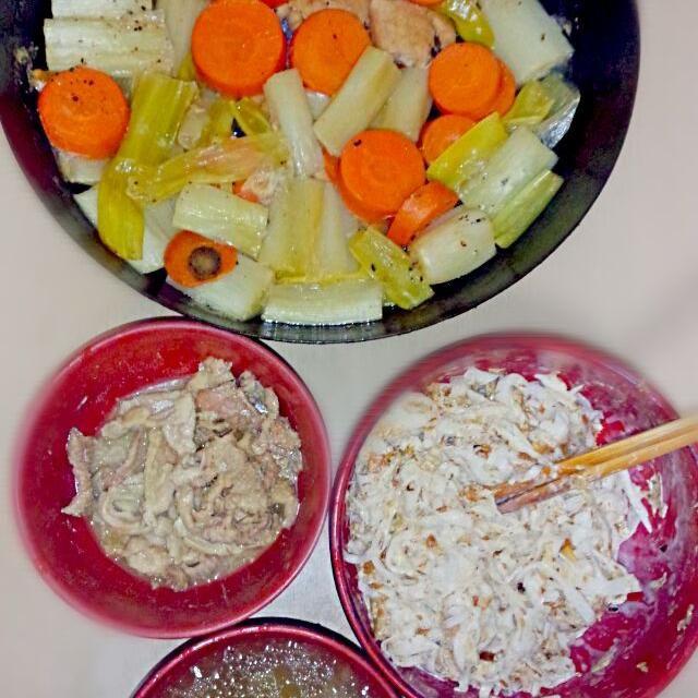 2014/12/23  夕飯 - 7件のもぐもぐ - 鶏鮭ネギ人参白ワイン煮 鶏皮山葵和え 大根サラダ ネギ椎茸鶏出汁スープ by sigure49