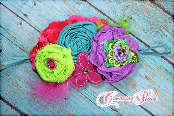 Purple, Lime, Pink Headband, Baby Girl's Hair Accessory, Turquoise Hair Clip, Summer, Spring, Baby Hair Bow, Turquoise Fabric Flowers