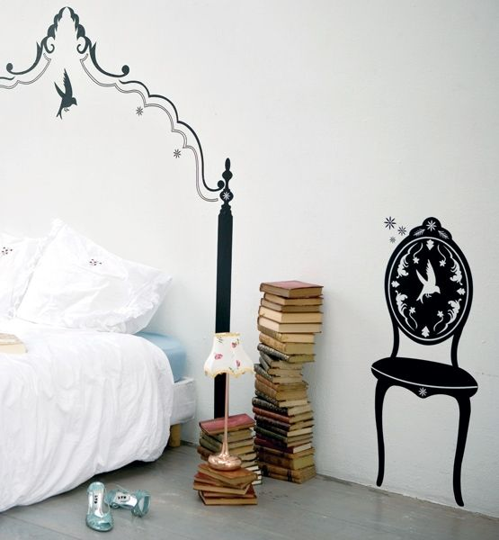 Wall decals are less expensive than new furniture and far easier to switch out on a whim. Drawing inspiration from Victorian silhouettes, this one packs a graphic punch that's anything but old-fashioned.