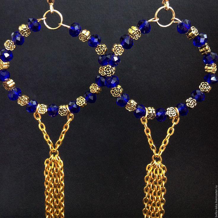 """Купить Серьги """"Звездные дожди"""" - тёмно-синий, кристаллы, синие кристаллы, серьги…"""
