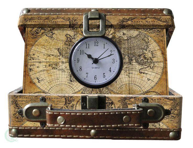 Vintiquewise Old World Map, Small Suitcase Clock, Qi003087
