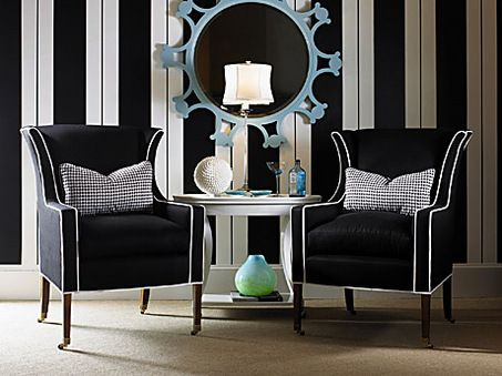 large_bw1.jpg 453×339 pixelsDecor, Ideas, Modern Chairs, Stripes Wall, Wings Chairs, Black And White, Living Room Chairs, Interiors Design, Black White