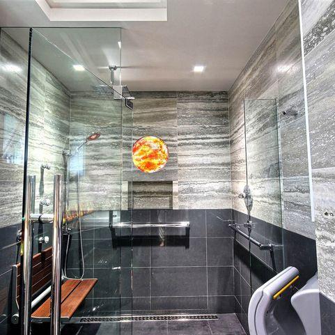 Custom Universal Design Transitional Bath Invisia Serena Seat Jaclo Grab