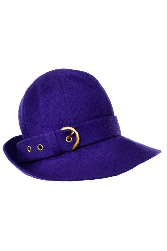 21f701411f1 60's Yves Saint Laurent Vintage Hat Purple in Wool YSL Trilby 22
