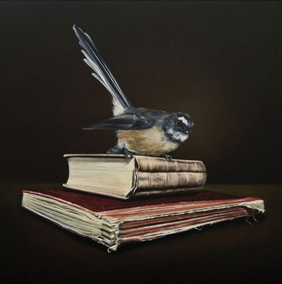 Memoirs of Yesterday - Fantail alights on a stack of books. By Jane Crisp. imagevault.co.nz