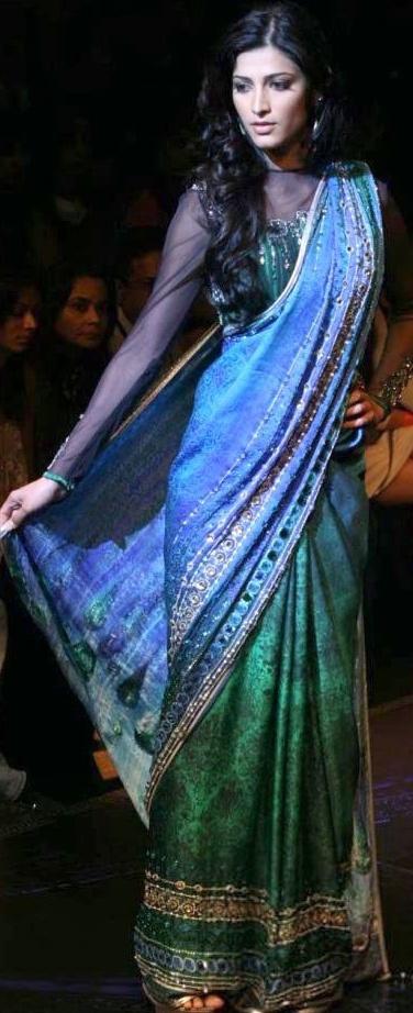 Shruti looks ethereal in a Satya Paul saree.
