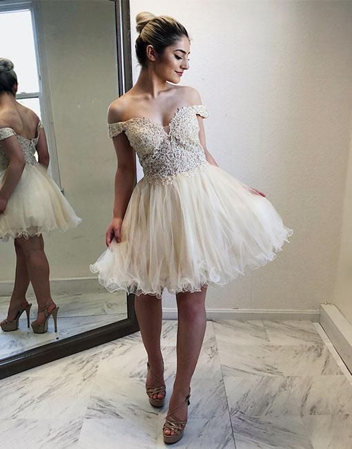 9f4cd4fd83a Cute Off The Shoulder Ivory Lace Homecoming Dress