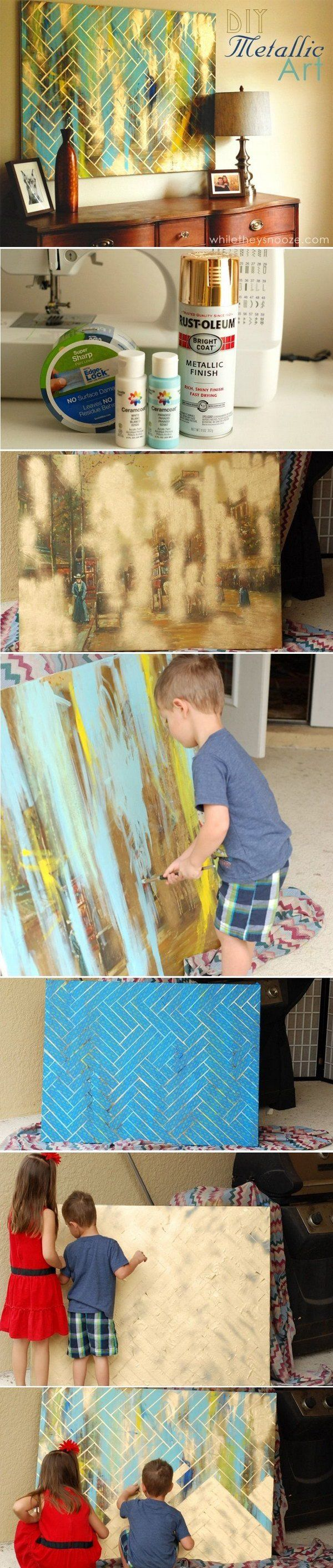 DIY Herringbone Metallic Artwork -- Great way to recycle an outdated picture