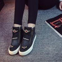 2016 Новой Англии стиль холст обувь стороны молнии сапоги высокие ботинки прилив женский джинсовые плоские сапоги женщина плоским
