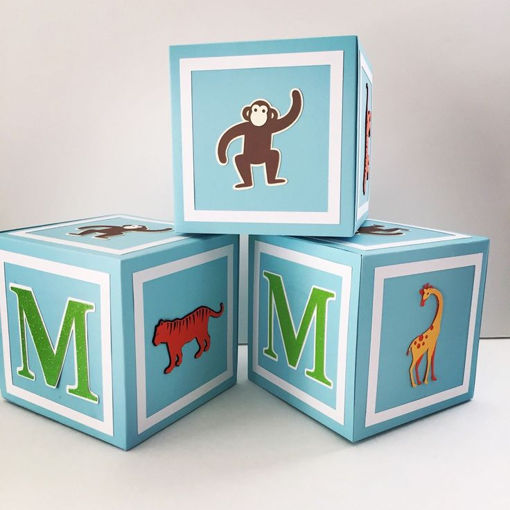 Zoo themed baby shower decorations, alphabet blocks