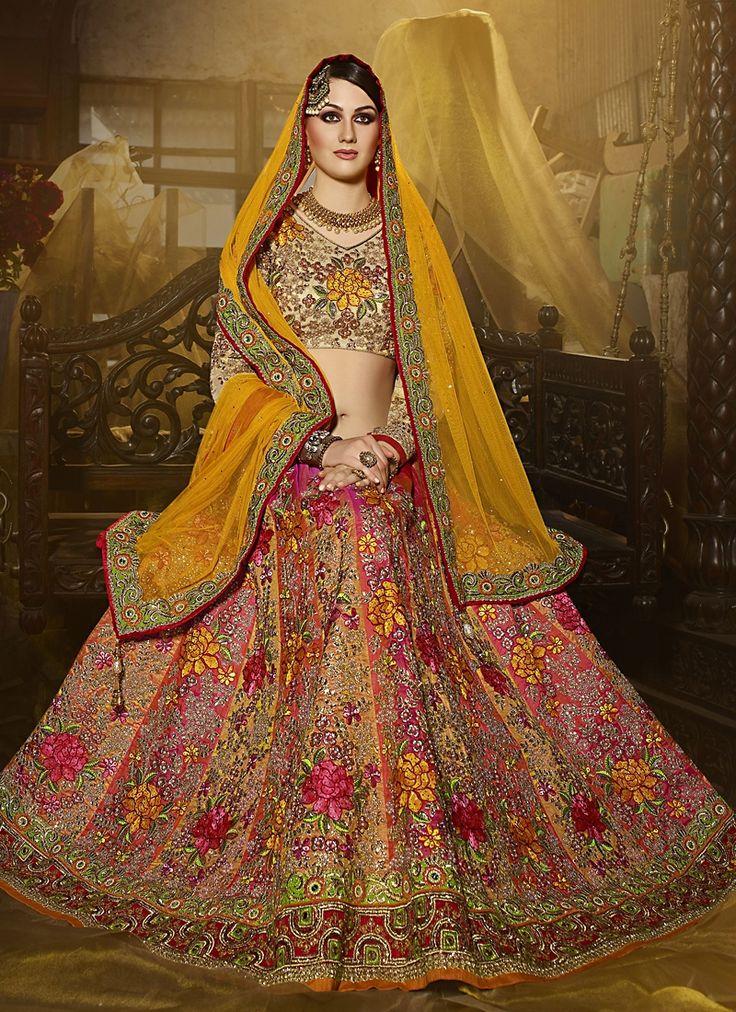 Buy Spellbinding Art Silk Multi Colour A Line Lehenga Choli, Online #weddinglehenga #bridallehenga #weddingfashion #occaison #fashion #marriageseason #weddingplanner #fashionable #glamor #glamorous #traditional #traditionalfashion