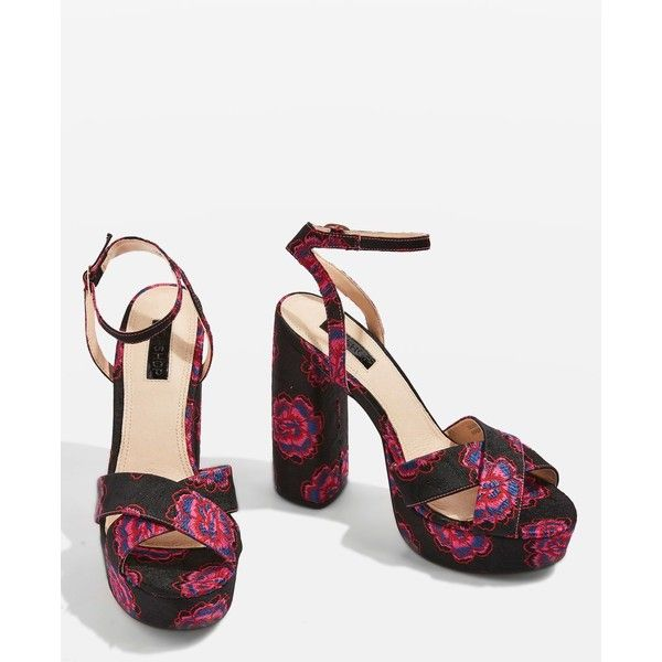 Topshop Lollie Embroidered Platform Shoes ($64) ❤ liked on Polyvore  featuring shoes, sandals