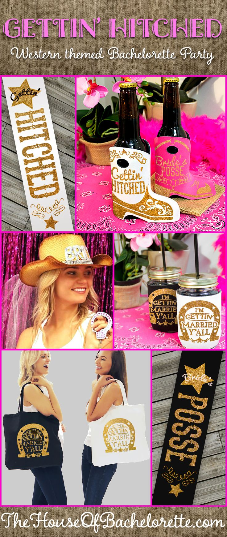 Country Western Theme Bachelorette Party Supplies & Ideas available exclusively at The House of Bachelorette