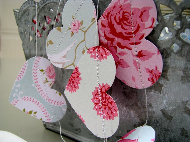 Paper Garland Shabby Chic Roses and Hearts