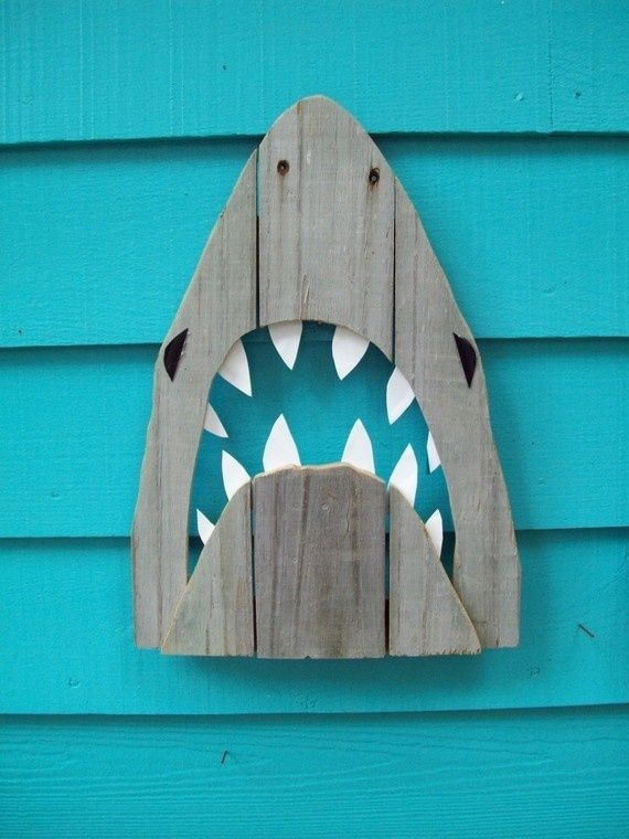 Shark art made of recycled fence wood JAWS Great by JohnBirdsong, $28.00: Outdoor Art, Gardens Patio, Recycled Wood, Sharks Art, Beaches Houses, Shark Art, Sharks Week, Cut Outs, Beaches Style