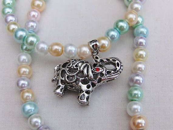 Silver Elephant With a Red Eye Pendant on a Beaded Necklace, Jewellery, Accessories, Gift, Birthday, Anniversary, Christmas, Gift for Friend