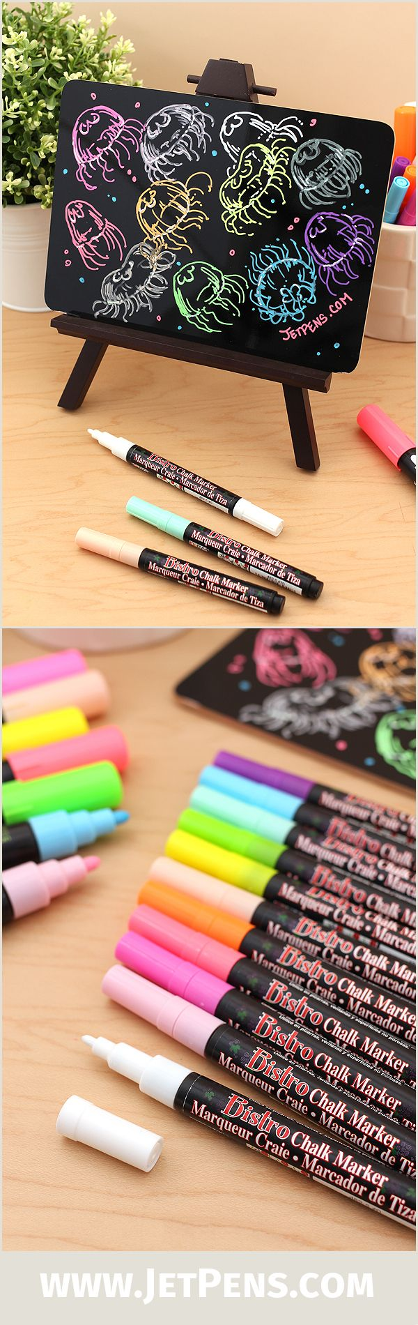 Make your chalkboards and glass fronts pop with vibrant Marvy Uchida Bistro Chalk Markers' opaque, water-based pigment ink.